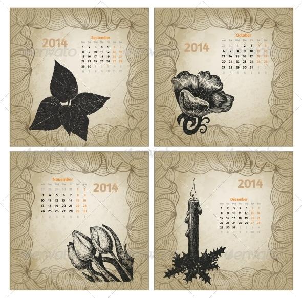 Vintage Style 2014 Hand Drawn Vector Calendar - Seasons Nature