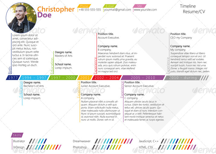 colorfull timeline resume  cv by asambler