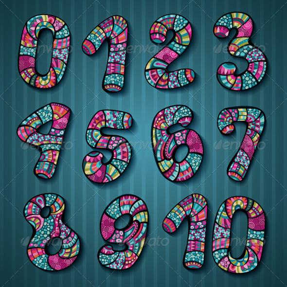 Hand Drawn Decorative Vector Numbers - Decorative Symbols Decorative