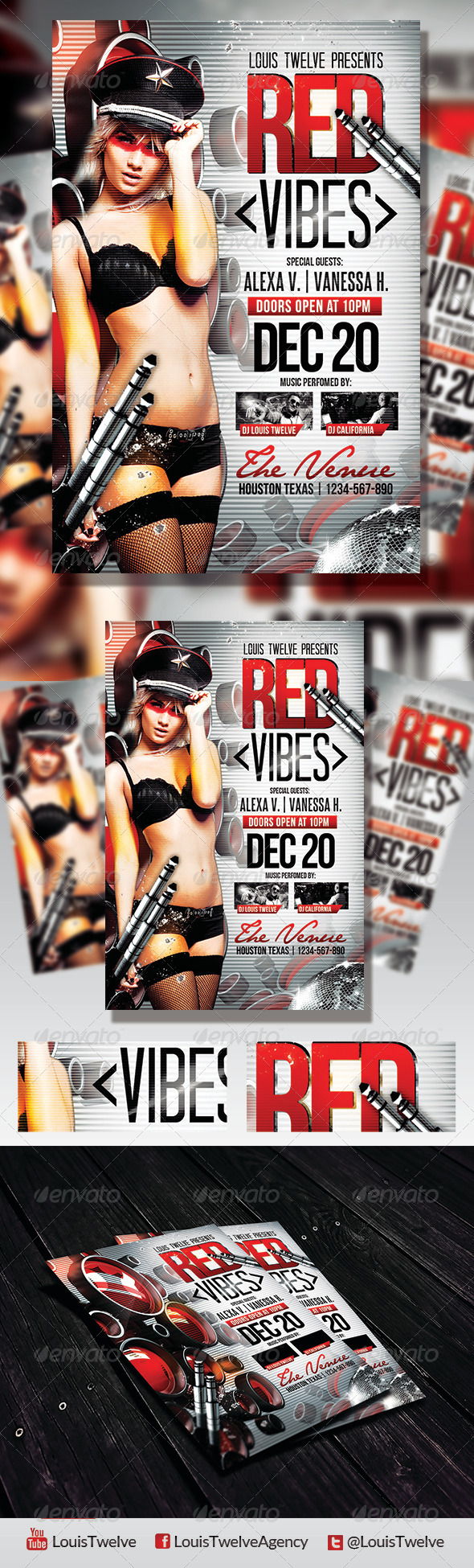 Red Vibes | Flyer Template - Clubs & Parties Events