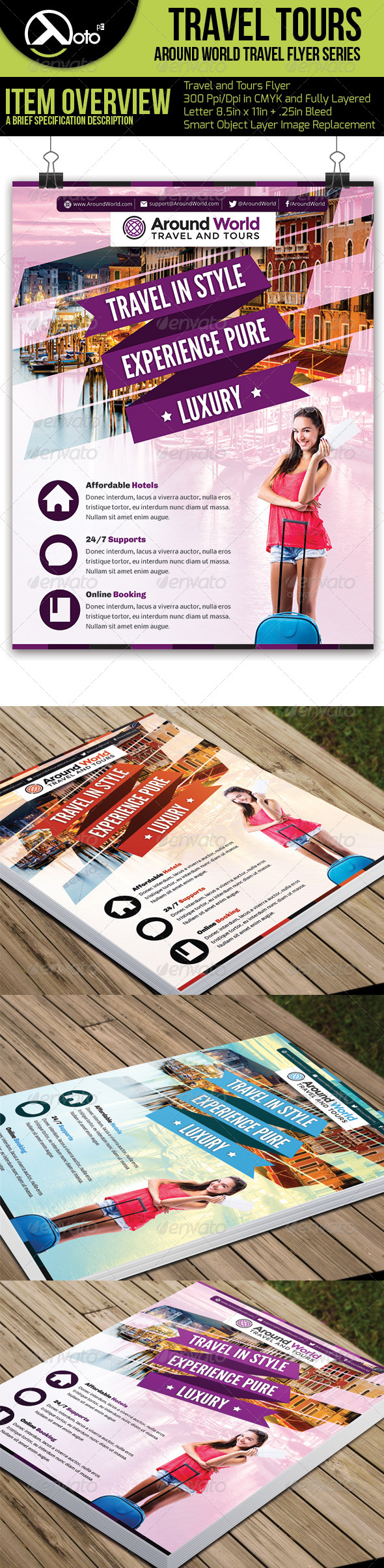 Around World Travel Flyers - Flyers Print Templates
