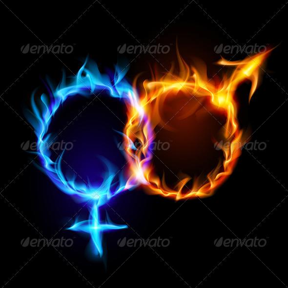 Mars and Venus Fire Symbols - Backgrounds Decorative