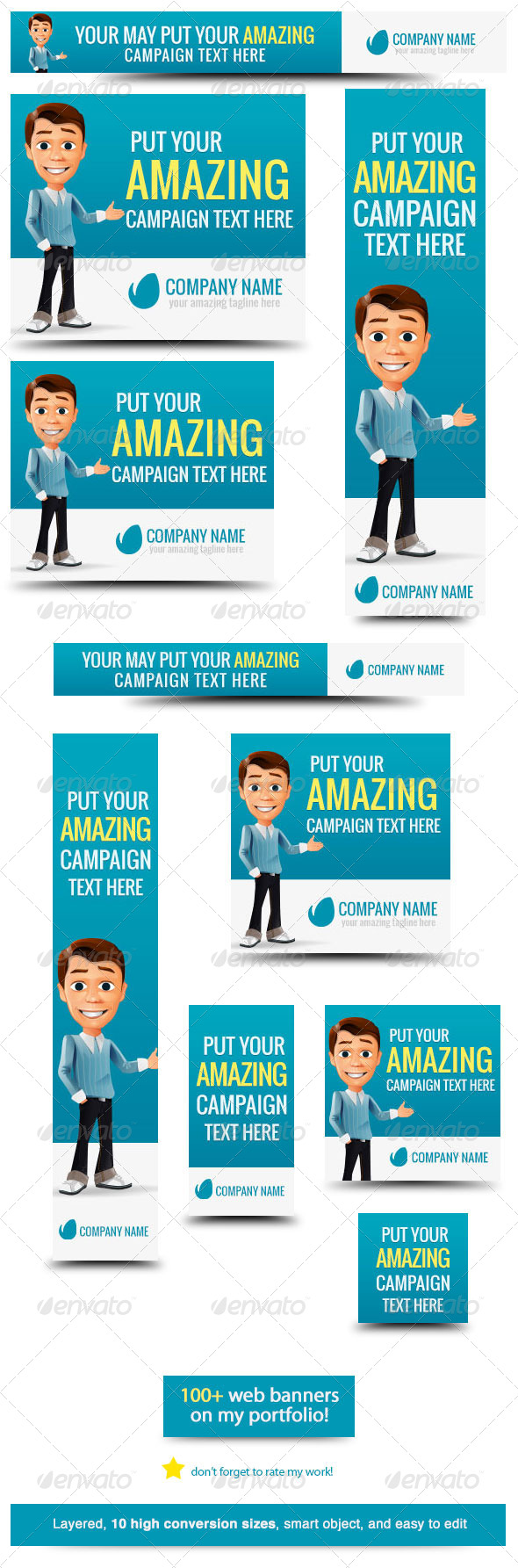 Business Cartoon Web Banner - Banners & Ads Web Elements