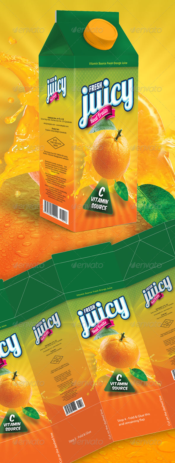 Orange Juice Box Design - Packaging Print Templates