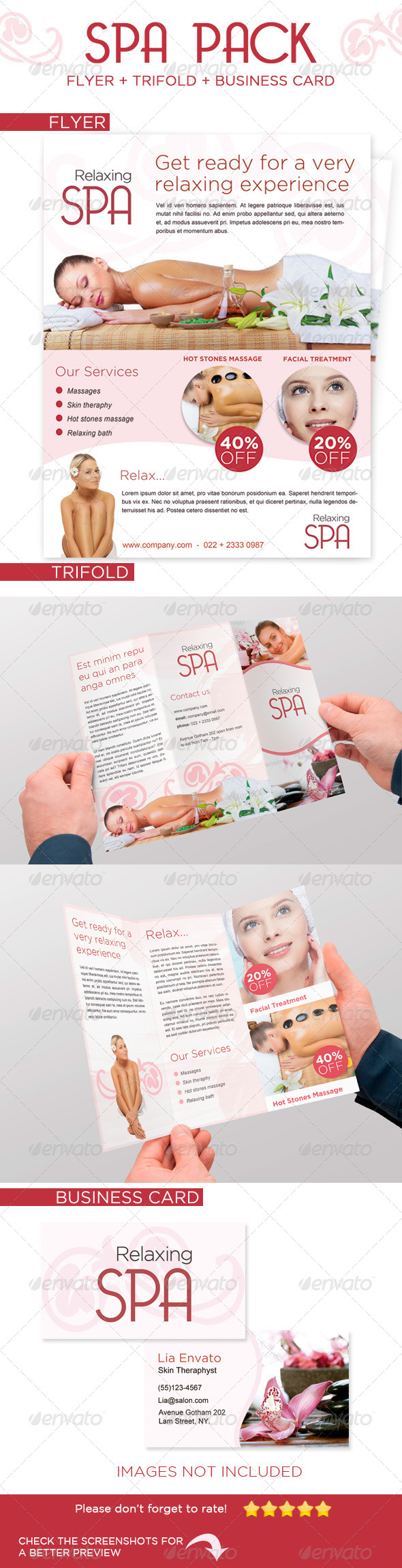 Spa Trifold + Flyer + Card - Stationery Print Templates