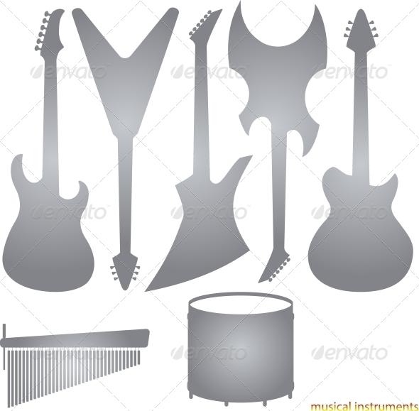Music Instruments Silhouettes - Miscellaneous Vectors