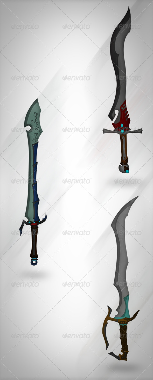 Set of Vector Swords  - Abstract Conceptual