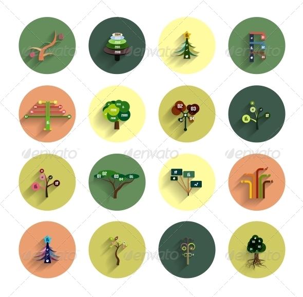Flat Eco Tree Infographic Icon Design Templates - Web Elements Vectors