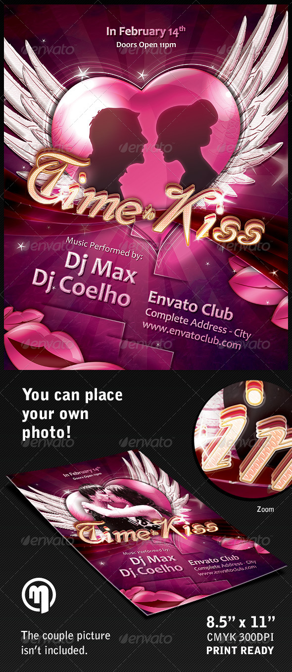 Time to Kiss Flyer Template - Holidays Events