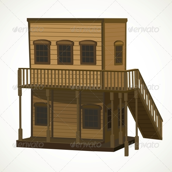 Wooden House for Town in the Wild West - Buildings Objects