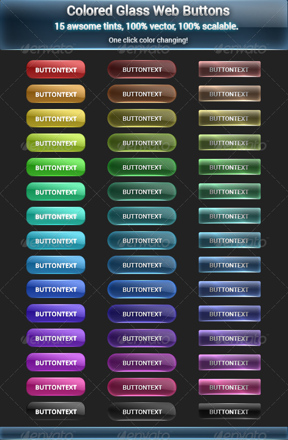 Colored Glass Buttons - Buttons Web Elements