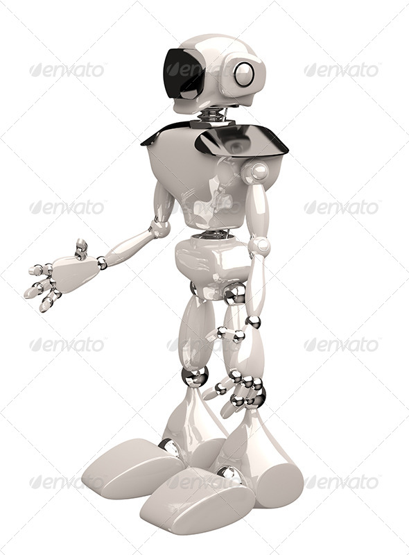 Robot on White Background - 3D Renders Graphics