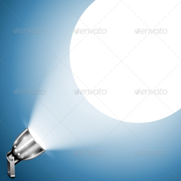 Metallic Spotlight Projecting on Blue Wall - Miscellaneous Vectors