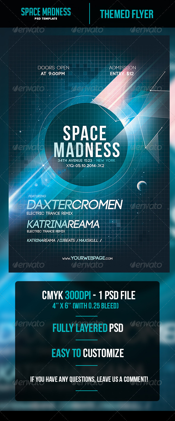 Space Madness Flyer Template - Flyers Print Templates