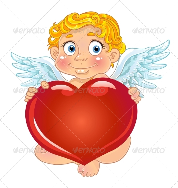 Cupid with Red Heart - Valentines Seasons/Holidays
