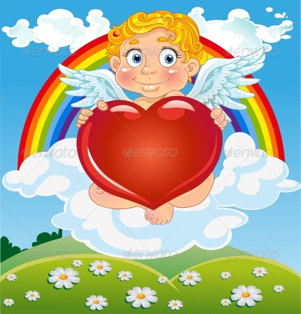 Cupid with Red Heart on Cloud Near Rainbow - Valentines Seasons/Holidays