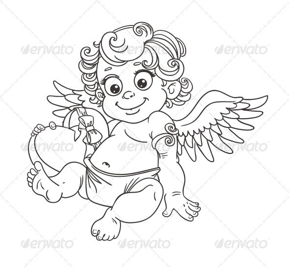 Cupid with Candy Outline for Coloring - Valentines Seasons/Holidays
