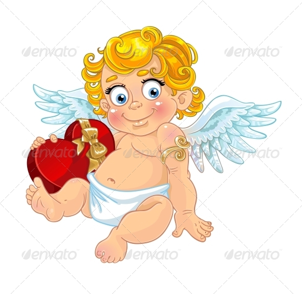 Cupid with Box of Candy - Valentines Seasons/Holidays