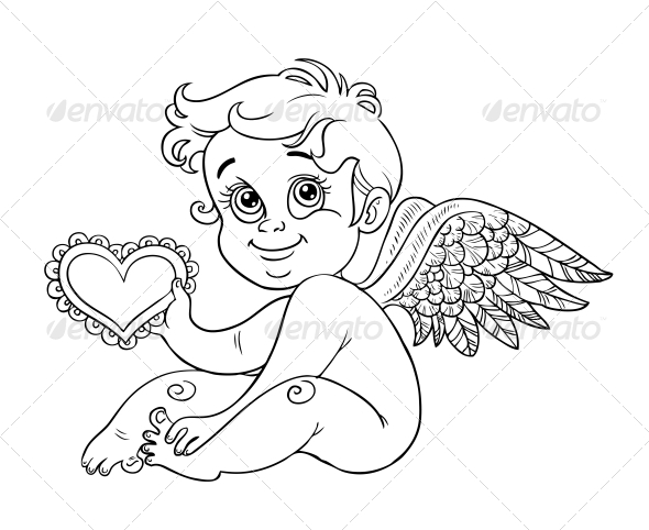Cupid with Valentine Outline for Coloring - Valentines Seasons/Holidays