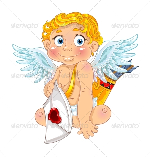 Cupid with Love Letter and Arrows - Valentines Seasons/Holidays