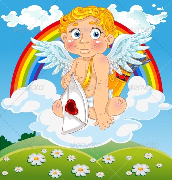 Cupid with Love Letter on Cloud - Valentines Seasons/Holidays