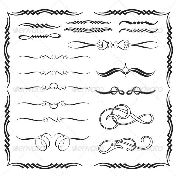 Arabesque Calligraphic Ornaments - Flourishes / Swirls Decorative