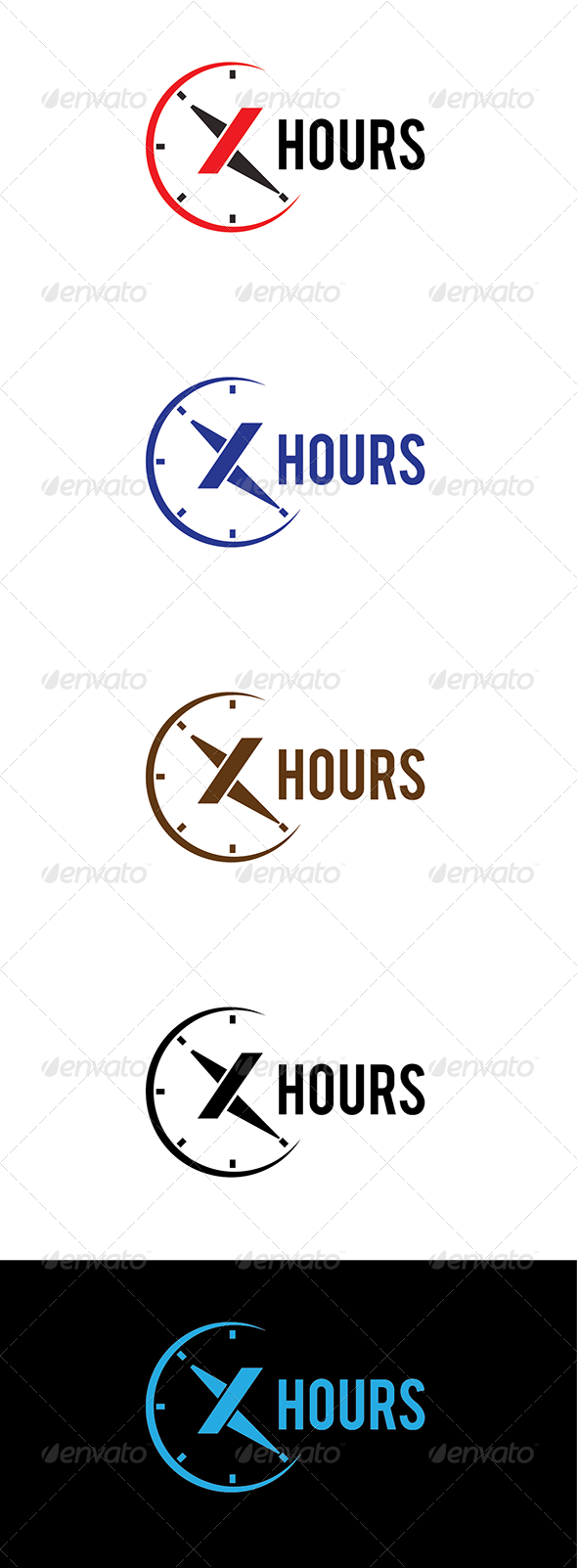 X Hours Logo - Letters Logo Templates