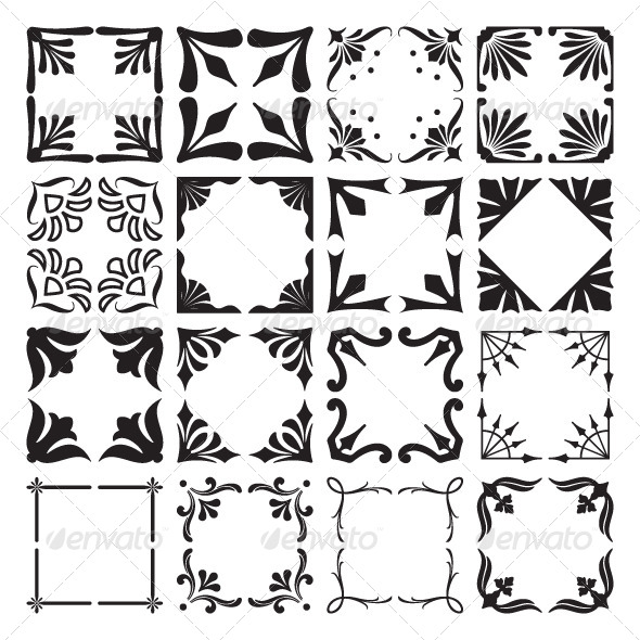 Set of  Decorative Corners and Frames - Borders Decorative