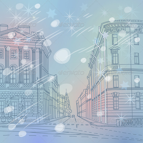 Winter Christmas Cityscape of St. Petersburg - Buildings Objects