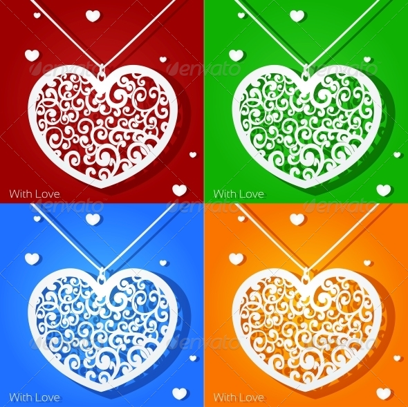 Openwork Heart Applique Paper in Different Colors - Valentines Seasons/Holidays