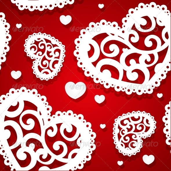 Seamless Pattern of Appliques of Hearts - Valentines Seasons/Holidays