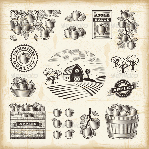 Vintage Apple Harvest Set - Decorative Symbols Decorative