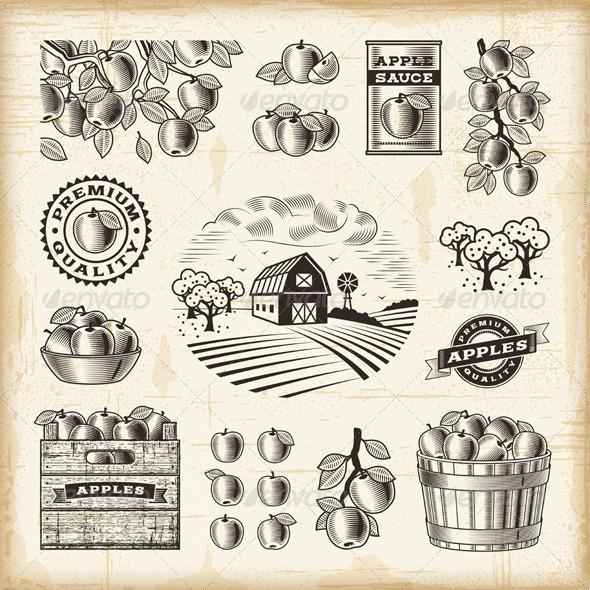 Vintage Apple Harvest Set - Decorative Symbols Decorative