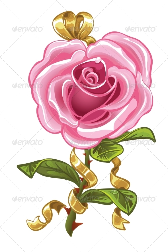 Pink Rose in the Shape of Heart and Gold Bow - Valentines Seasons/Holidays