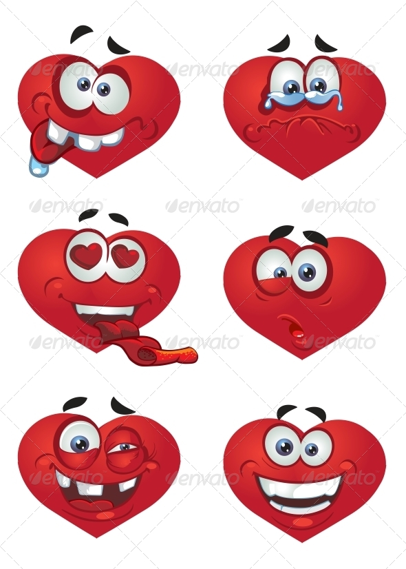 Set of Hearts with Smiles - Valentines Seasons/Holidays