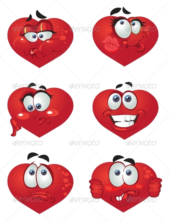 Set of Butch Heart Smiles - Valentines Seasons/Holidays