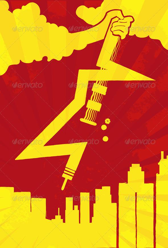 Lightning Guitar Rocking on City Concept - Miscellaneous Vectors
