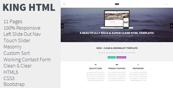 King – Unique HTML Template