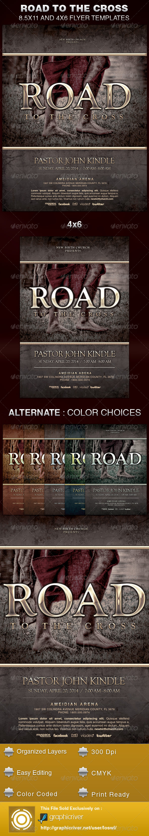 Road to the Cross Church Flyer Template - Church Flyers
