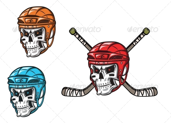 Skull with Ice Hockey Ammunition - Monsters Characters