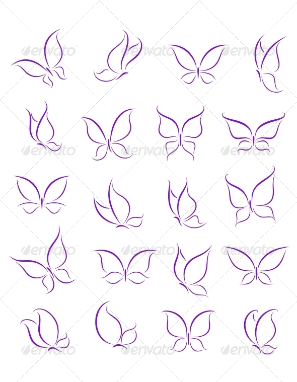 Butterfly Silhouettes Set - Miscellaneous Conceptual