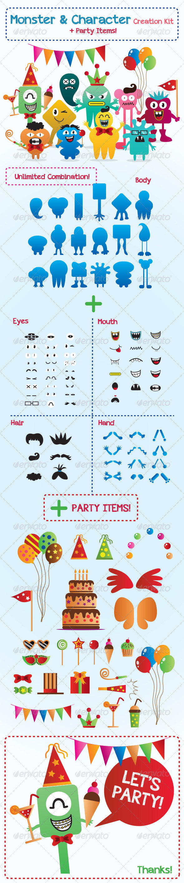 Monster and Character Creation Kit with Party Items - Monsters Characters