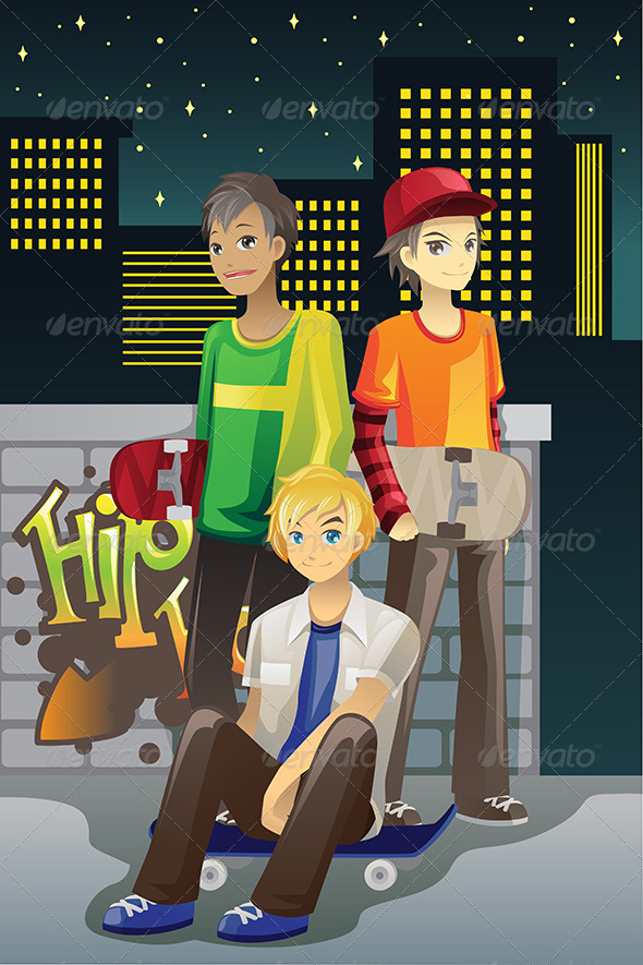 Young Skateboarders - Sports/Activity Conceptual