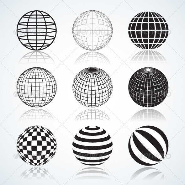Set of 9 Globes and Spheres - Patterns Decorative