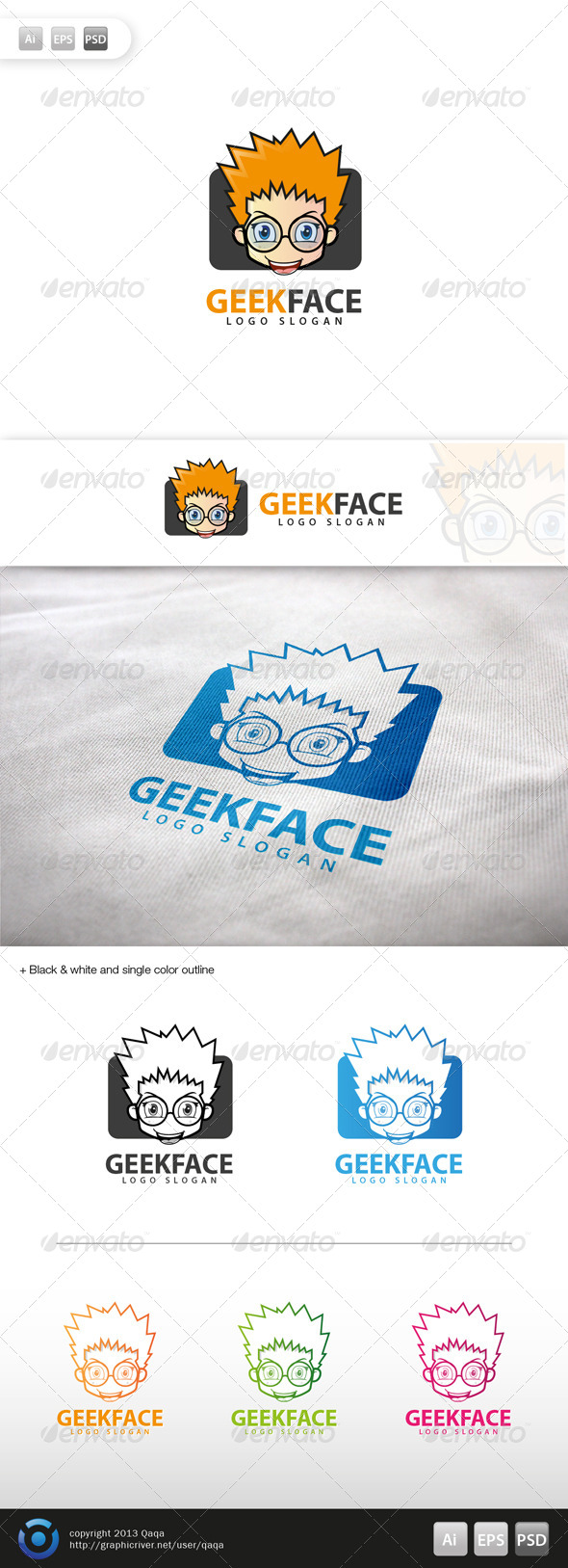 Geek Face Logo - 01 - Humans Logo Templates