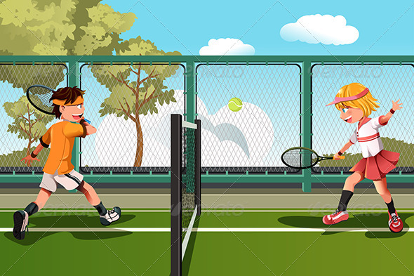 Kids Playing Tennis - Sports/Activity Conceptual
