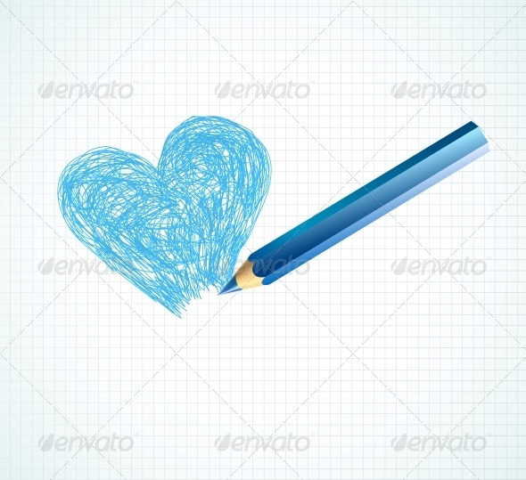 The Blue Heart not Finished by a Pencil - Valentines Seasons/Holidays