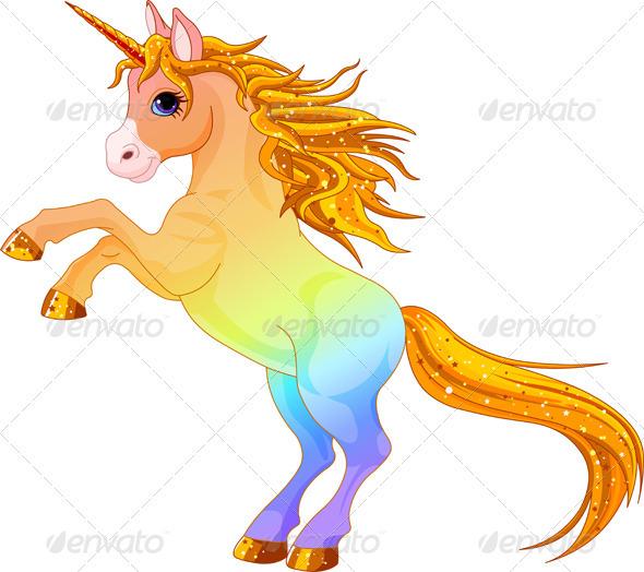 Rainbow colored unicorn  - Animals Characters