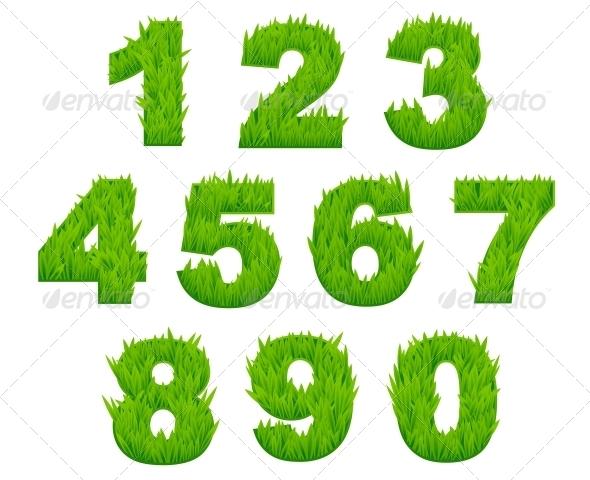Grass Numbers and Digits - Decorative Symbols Decorative
