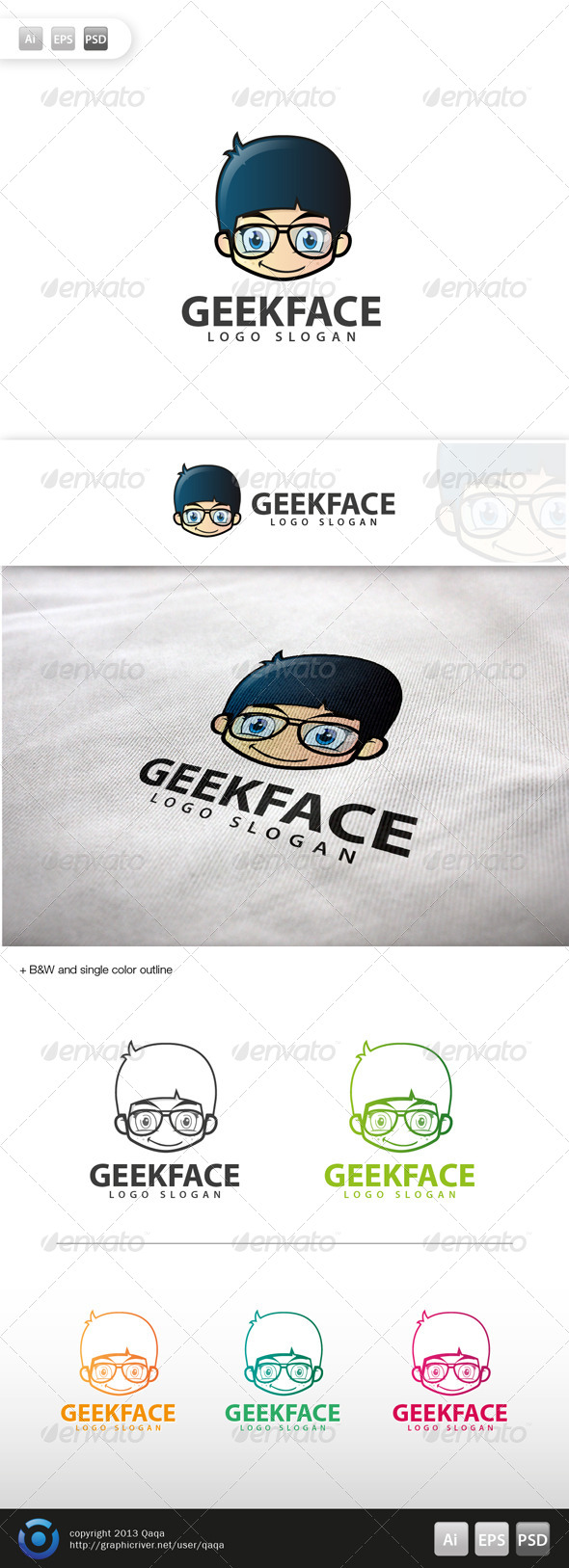 Geek Face Logo - 03 - Humans Logo Templates